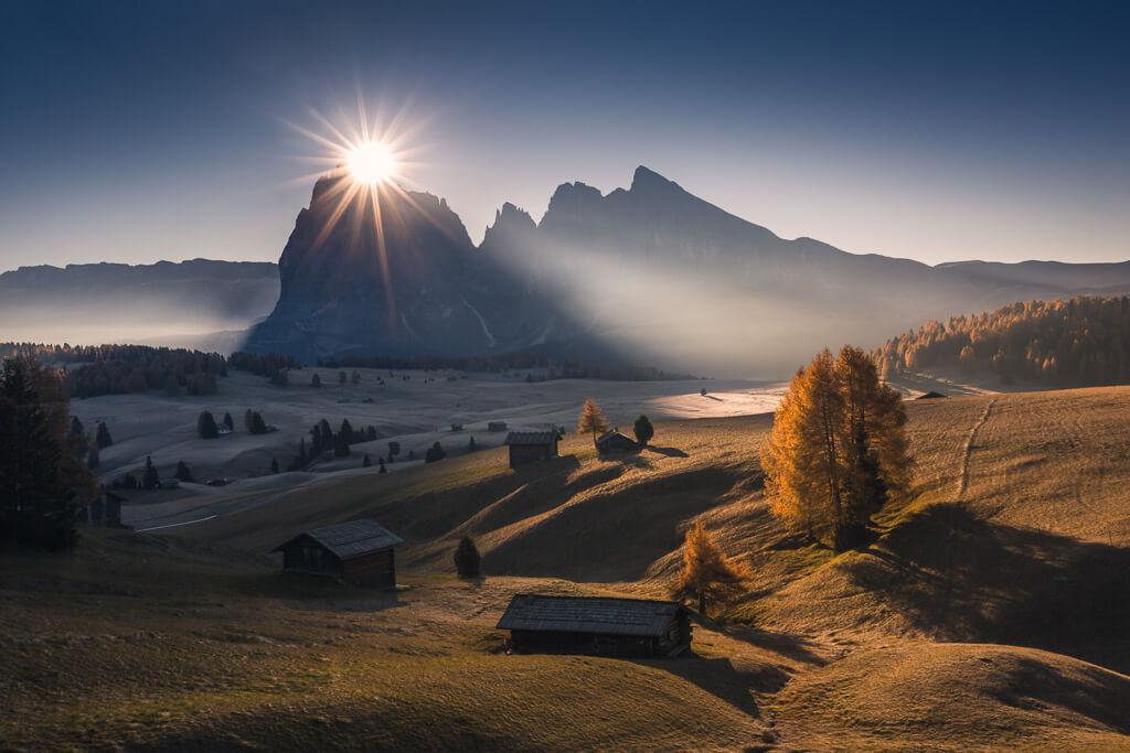 Autumn, sunrise, Alpe di Siusi, Dolomites, Dolomiti, Italy, Landscape, Marco Grassi, Marco Grassi Photography