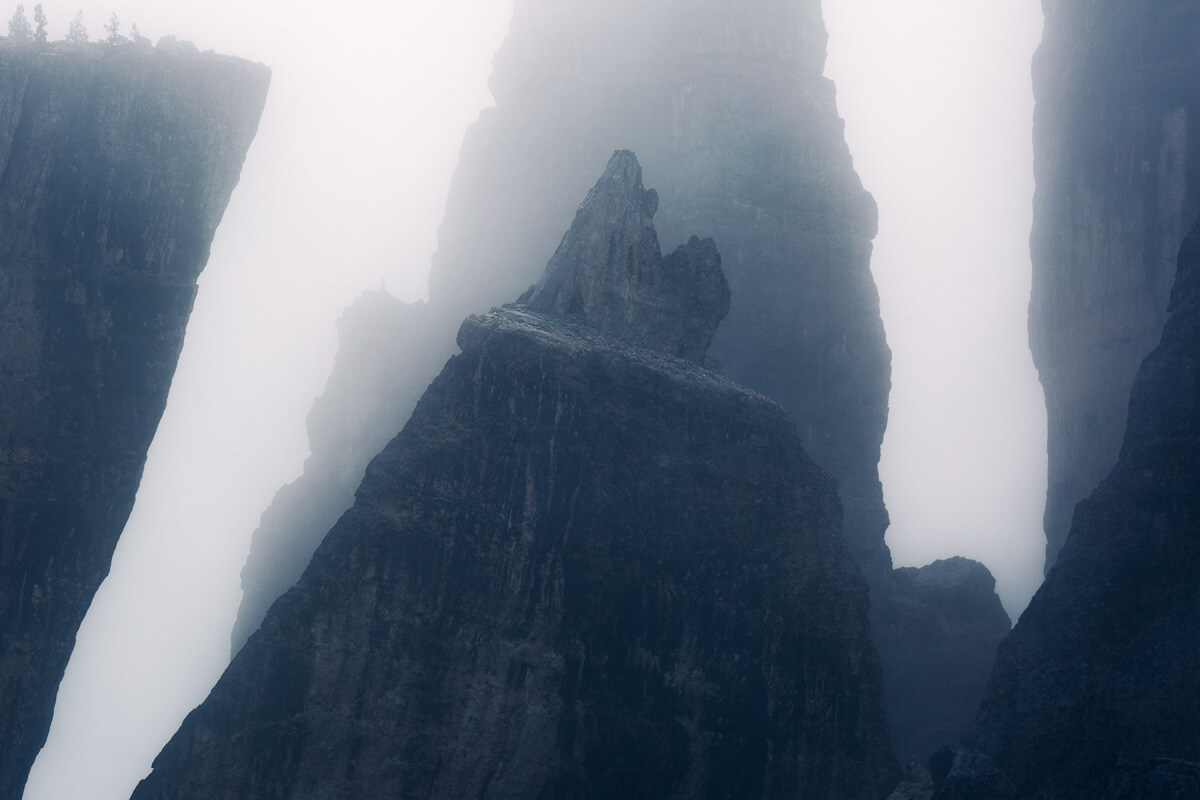 Cinque Torri with the fog in the Dolomites