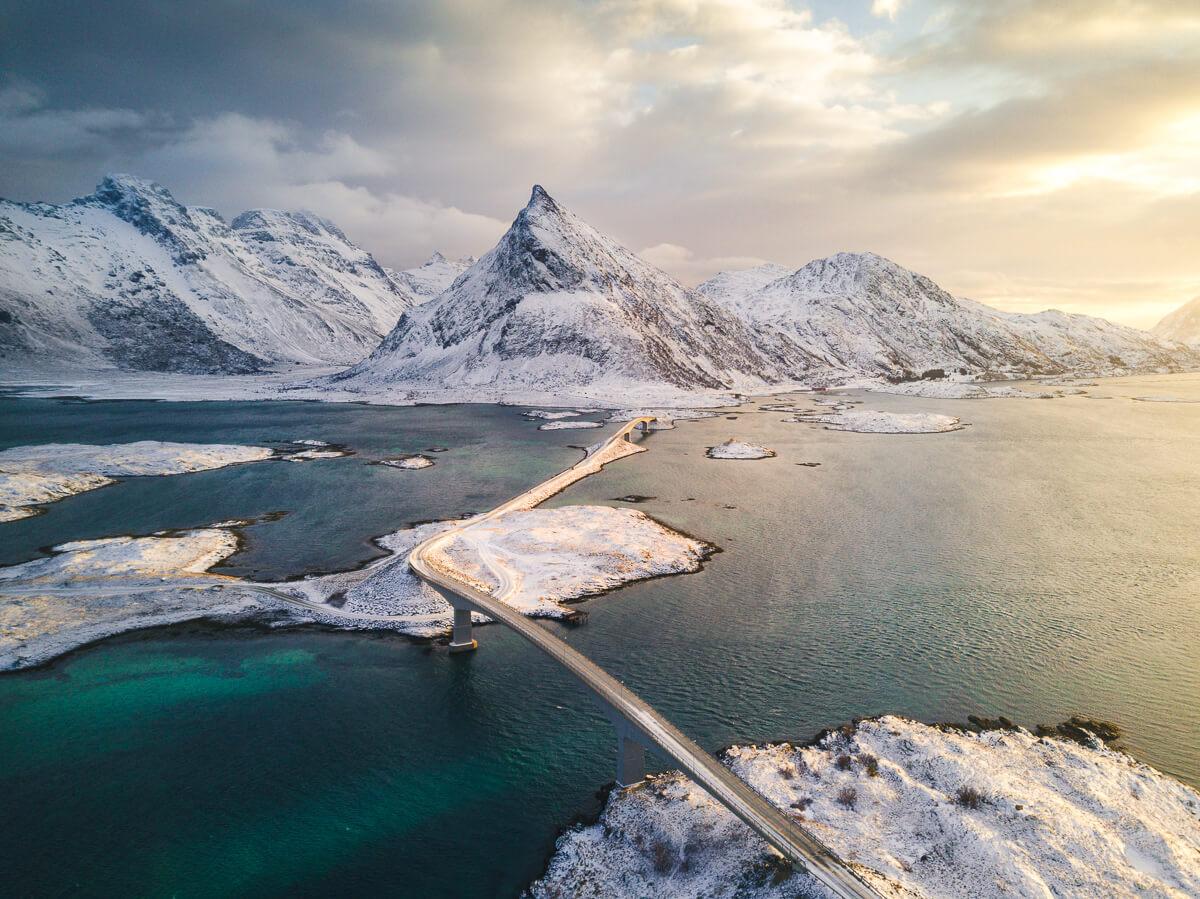 Fredvang bridges, Lofoten, Norway, Winter, Arctic circle, Bridges, Marco Grassi, Marco Grassi Photography, Drone, FineArt landscape photography,
