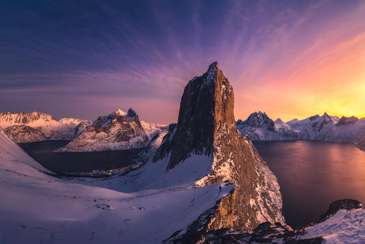 senja, arctic, winter, sunset, snow, fjord,