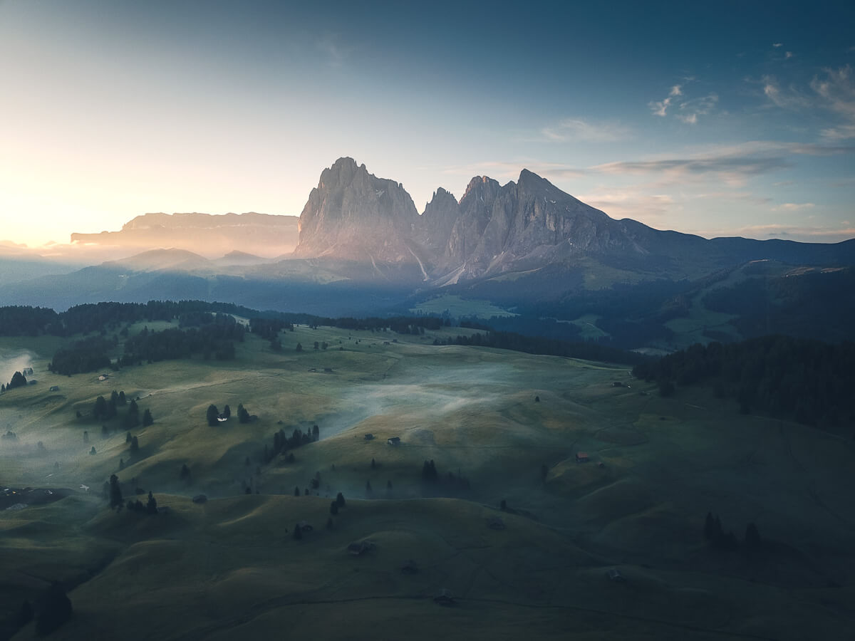 Flying above Alpe di Siusi in the Dolomites
