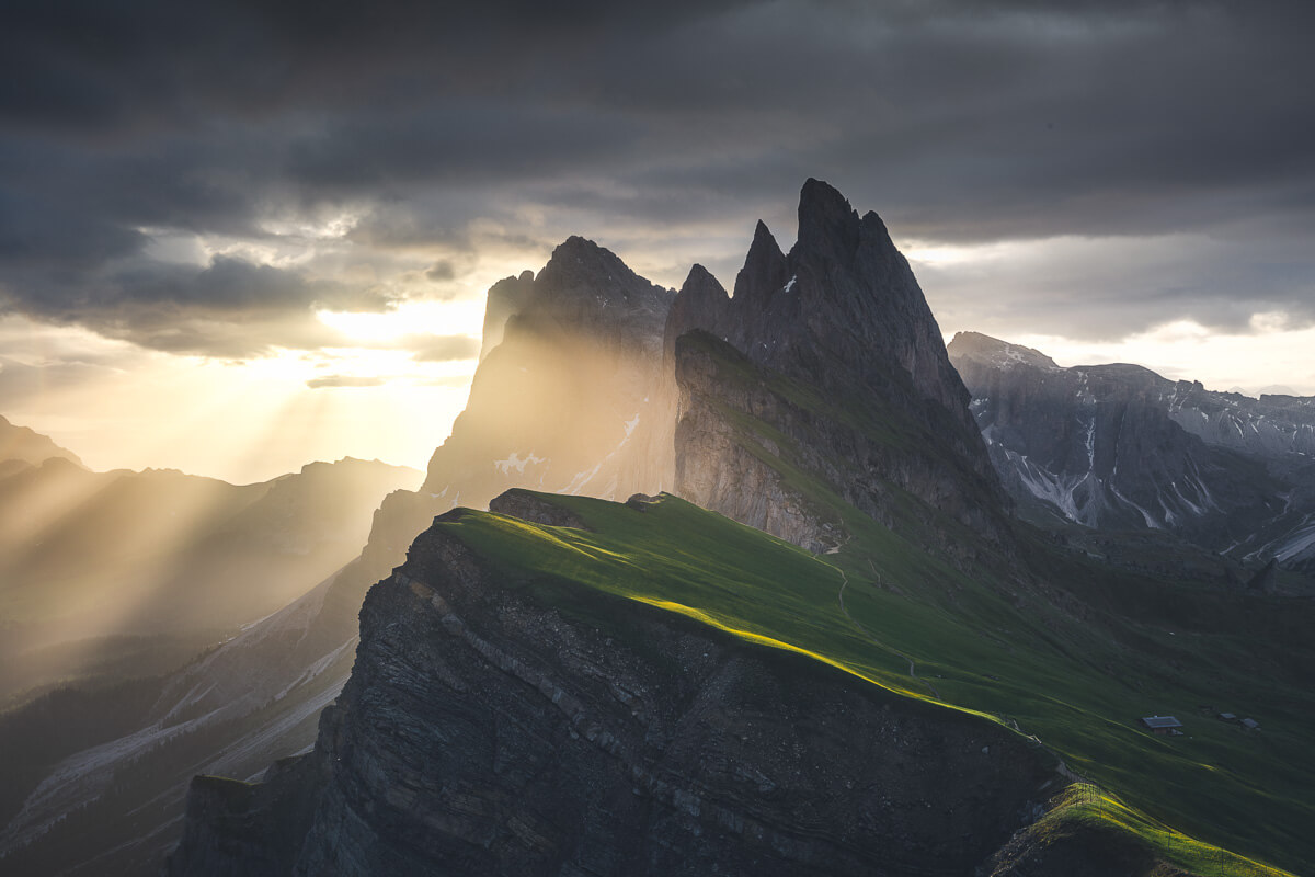 Summer light shining over Seceda in the Dolomites