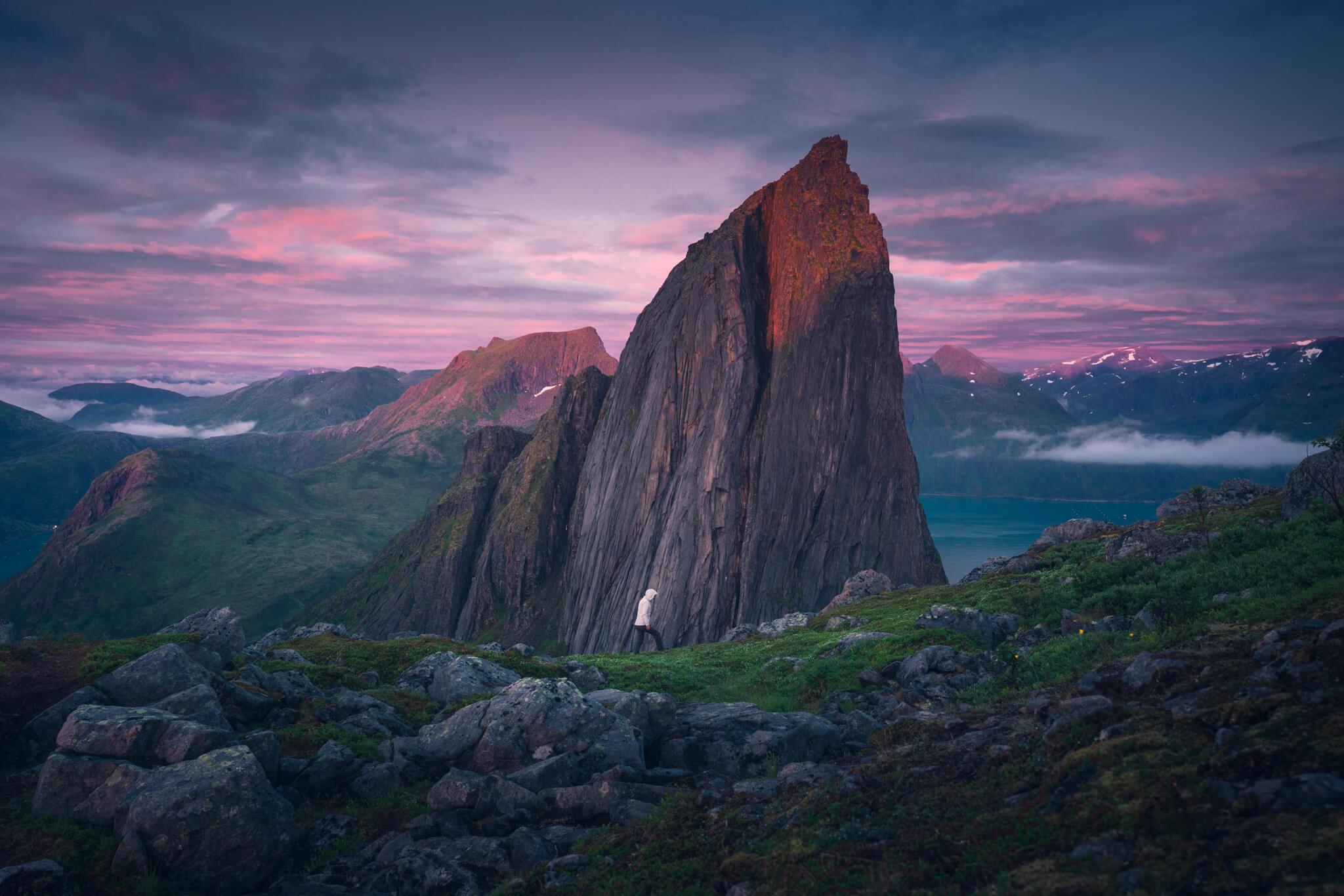 Sunset light hitting Segla mountain in Senja