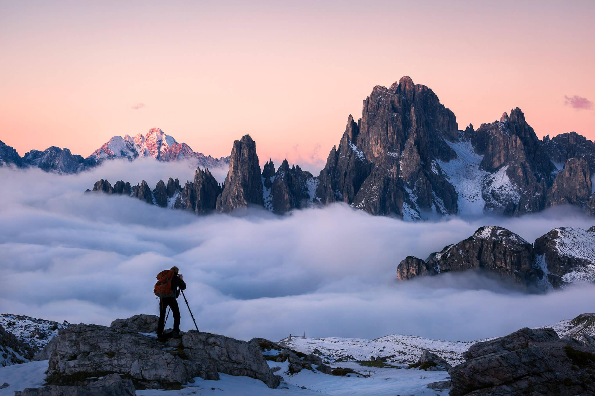 Cadini di Misurina in the Dolomites with fog around