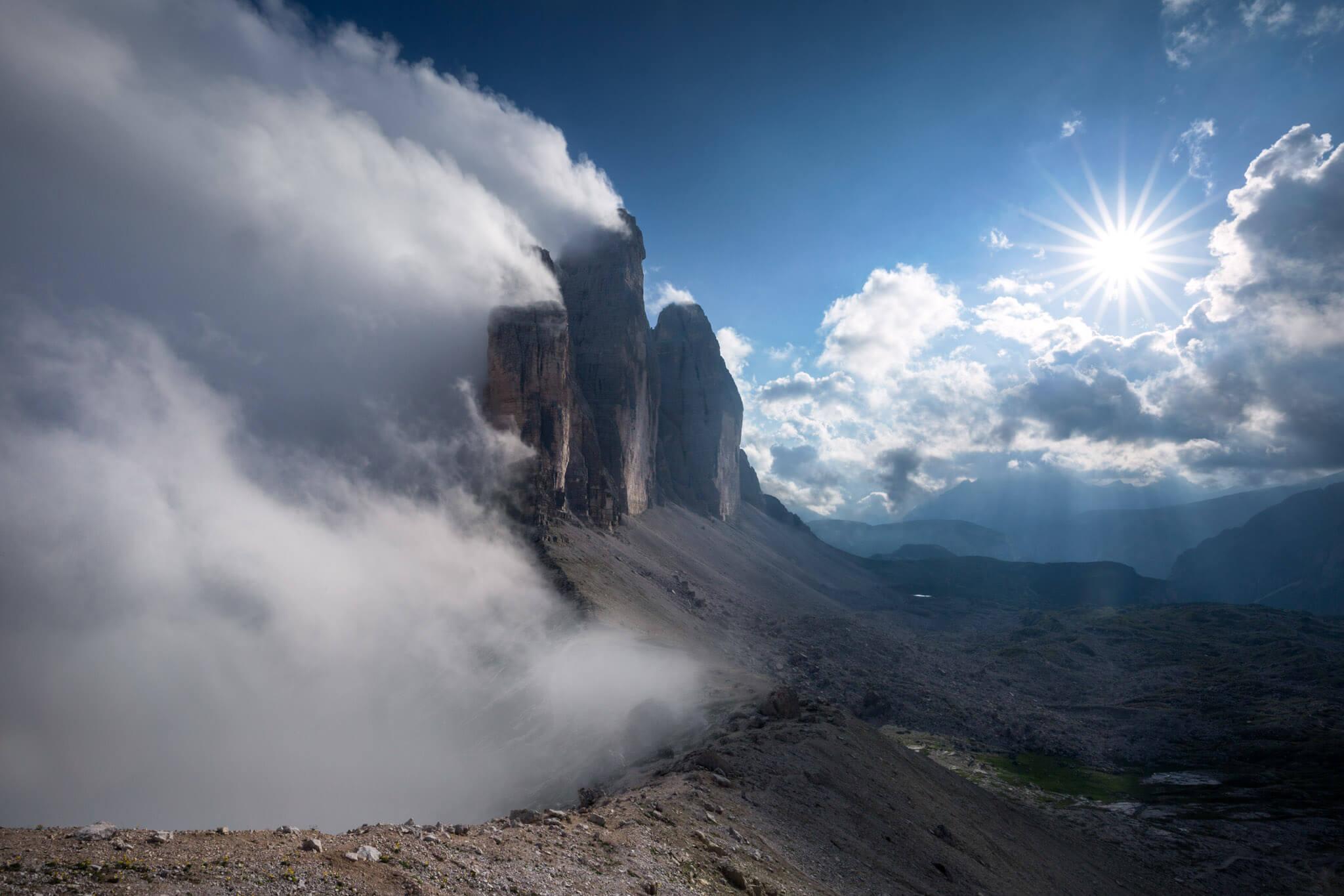 Fog around Tre Cime di Lavaredo in the Dolomites