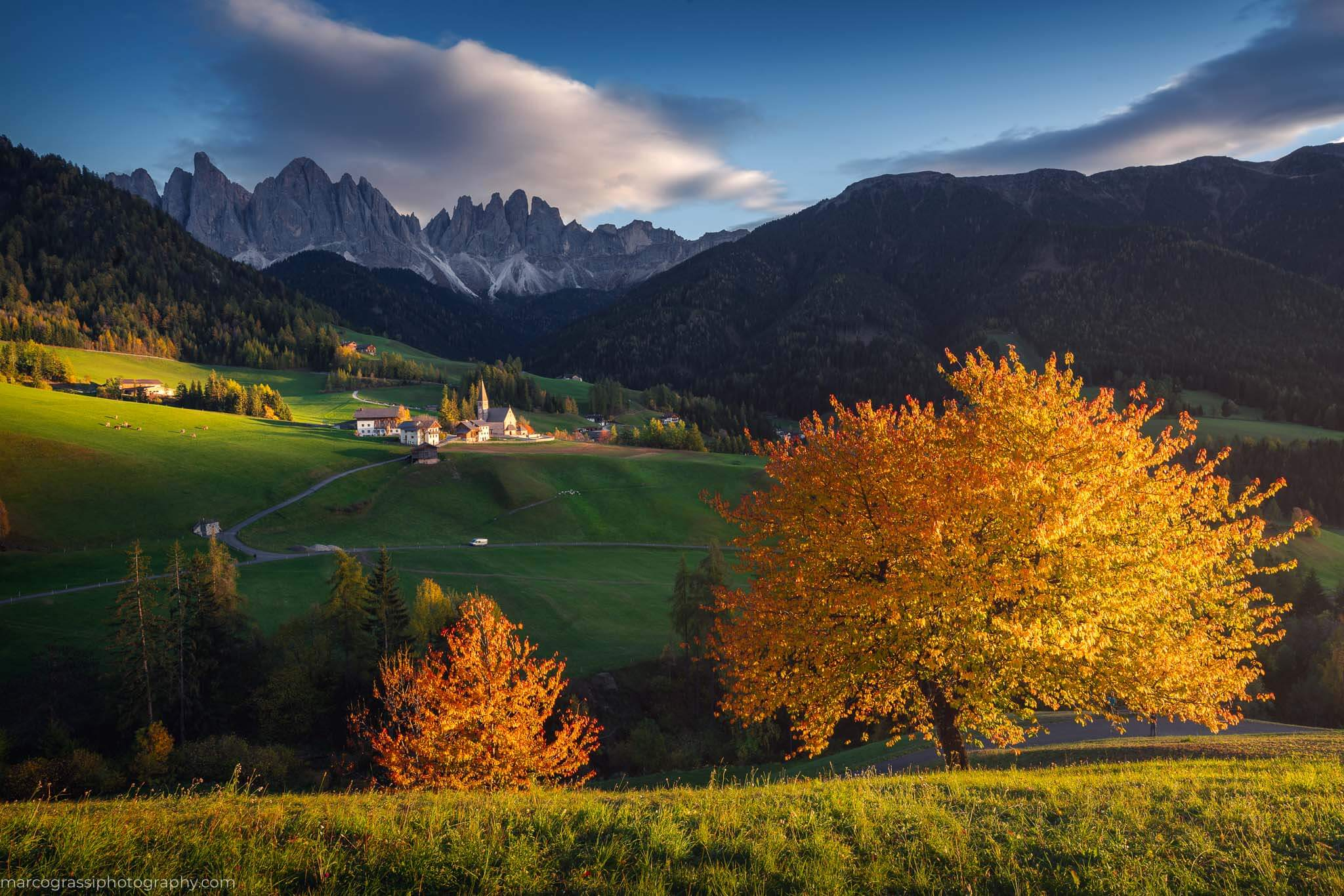 Sunset in Val di Funes during the autumn Dolomites Photo Tour