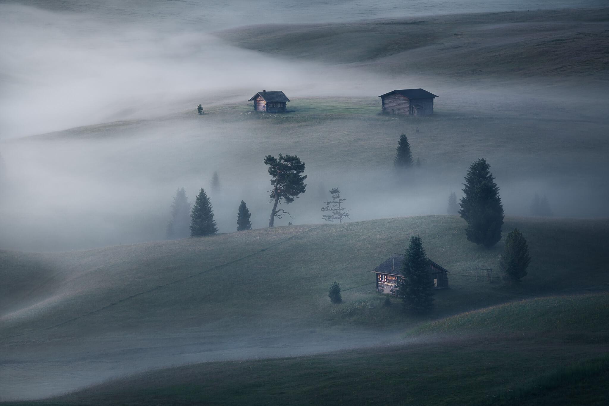 Close up of some huts in Alpe di Siusi