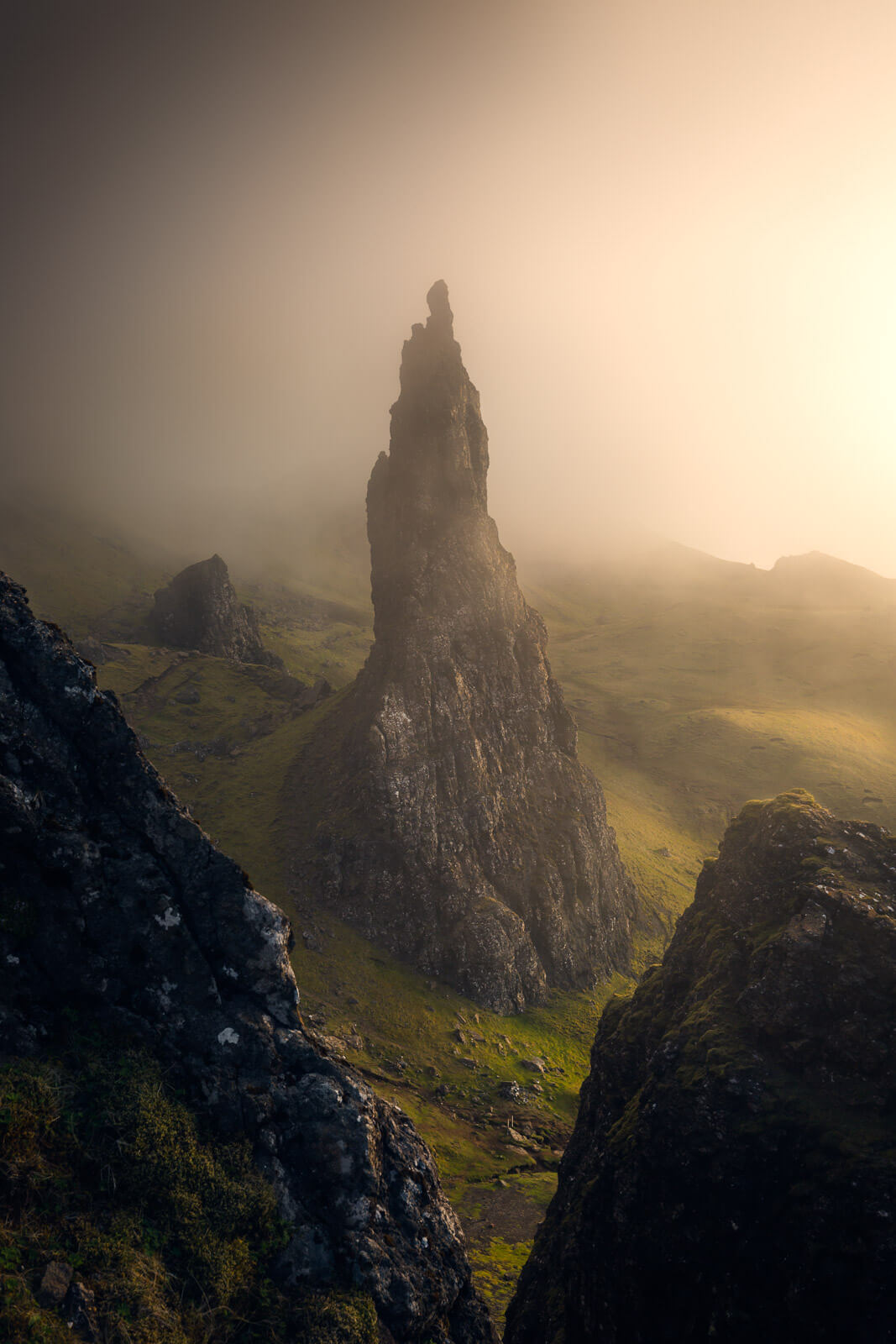 A foggy day at the Old Man of Storr in Scotland