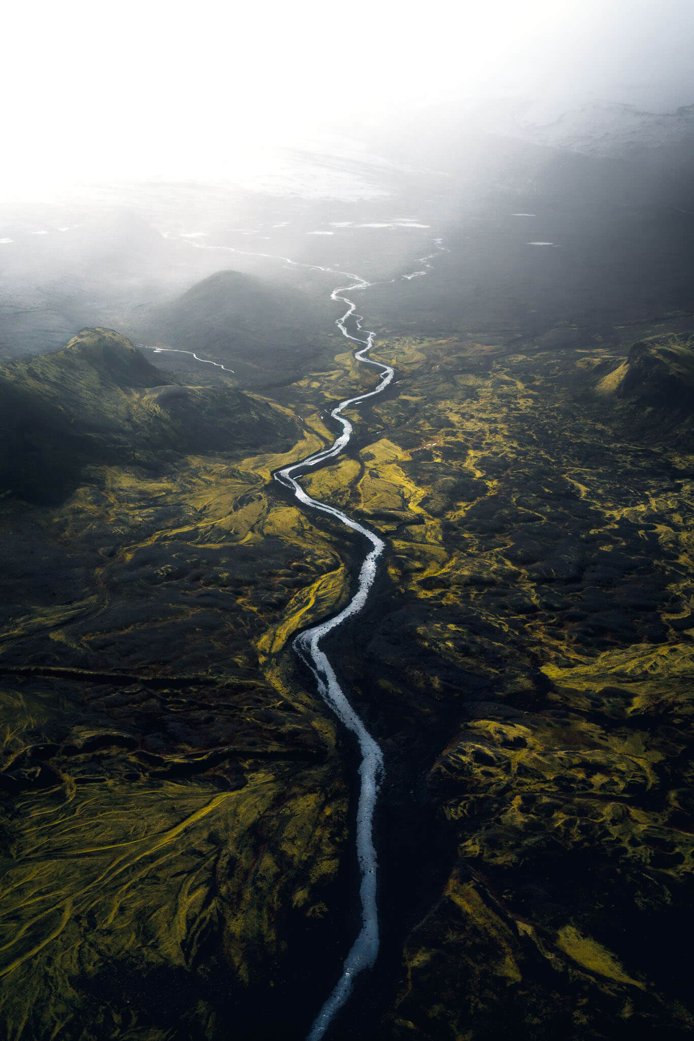 Flying above rivers in Iceland