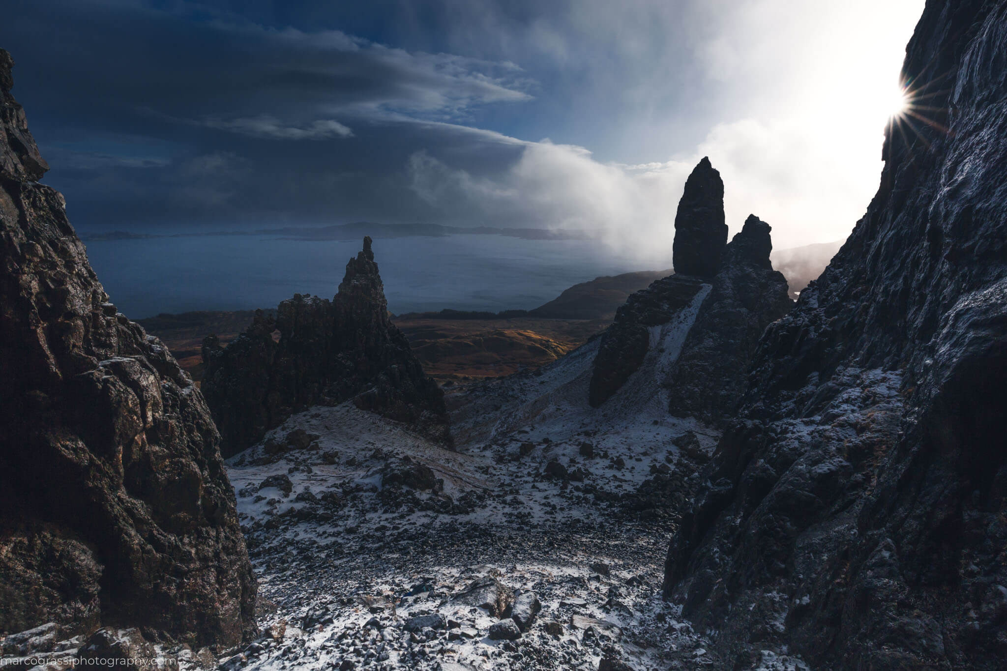 Snowstorm at the Old Man of Storr on the Isle of Skye, Scotland