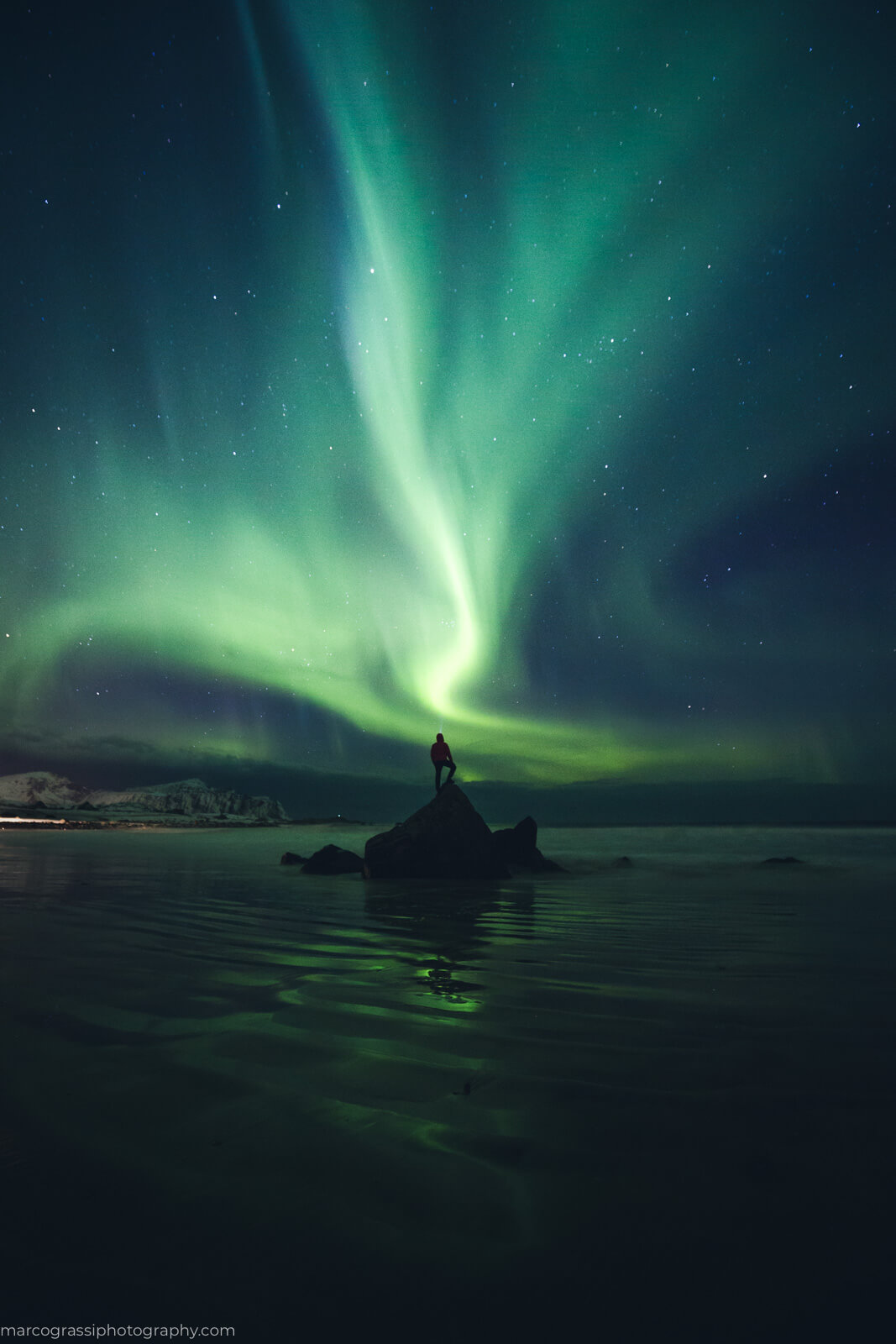Staring at the Northern Lights in Lofoten Islands, Norway