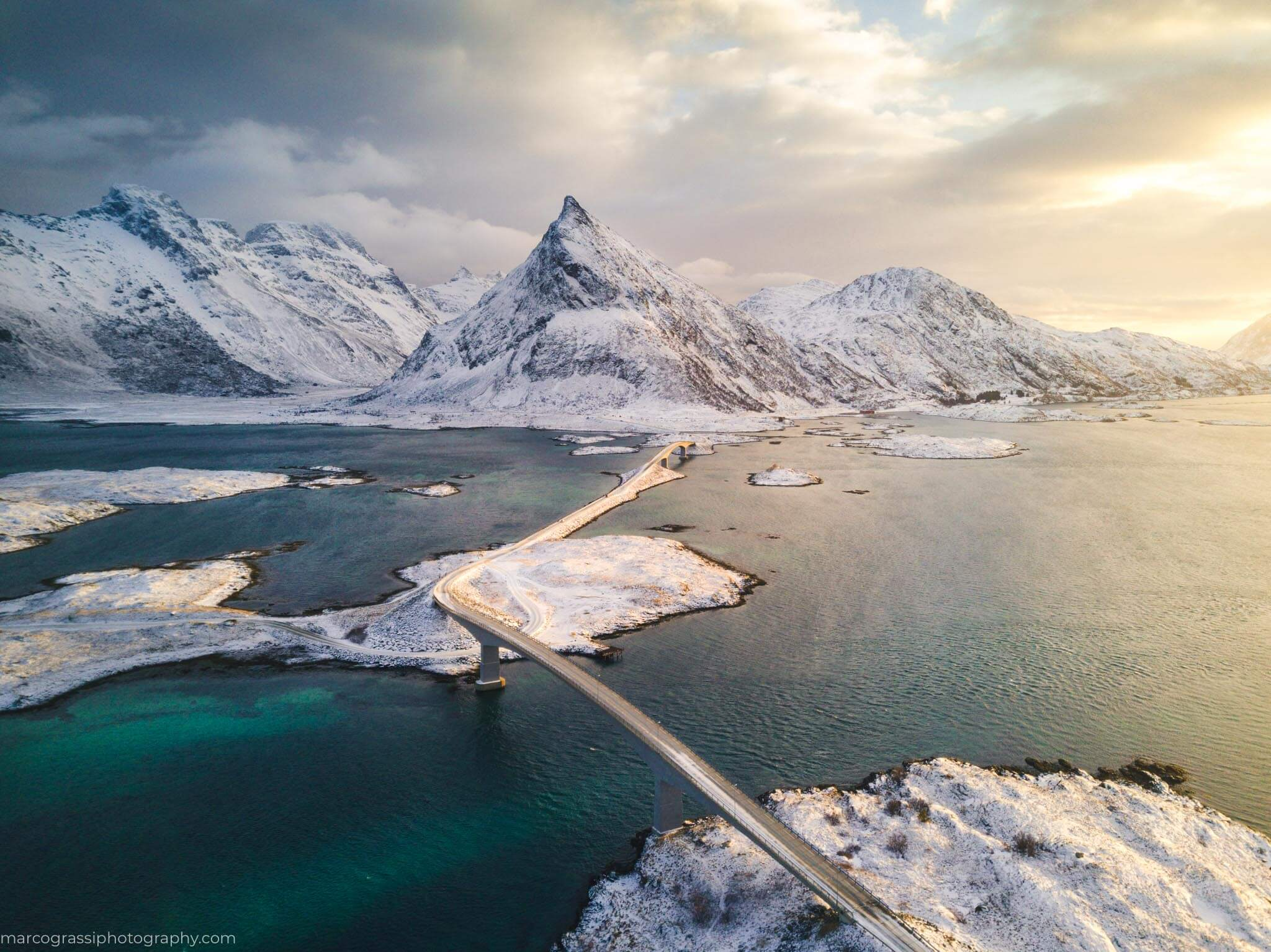 Flying the drone above bridges in Lofted Islands, Norway