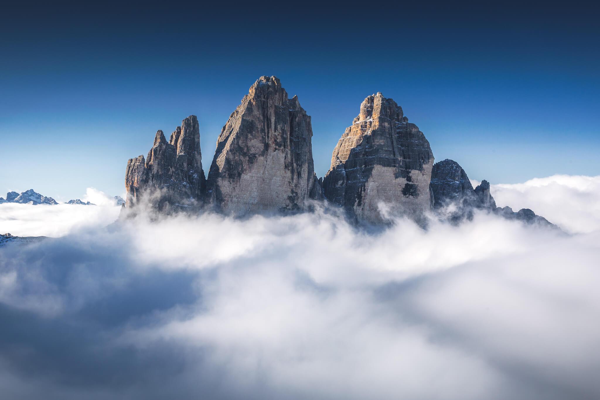 Fog around Tre Cime di Lavaredo