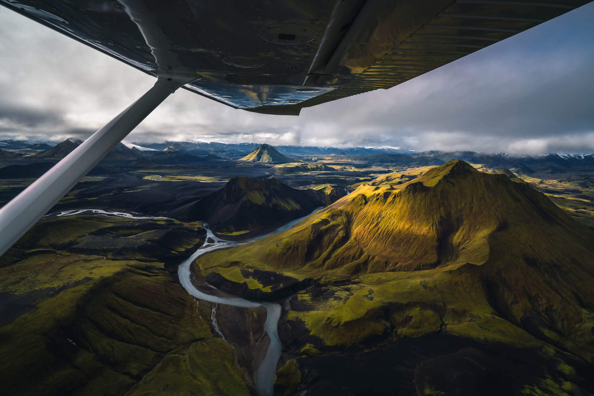 Flying above the Highlands of Iceland
