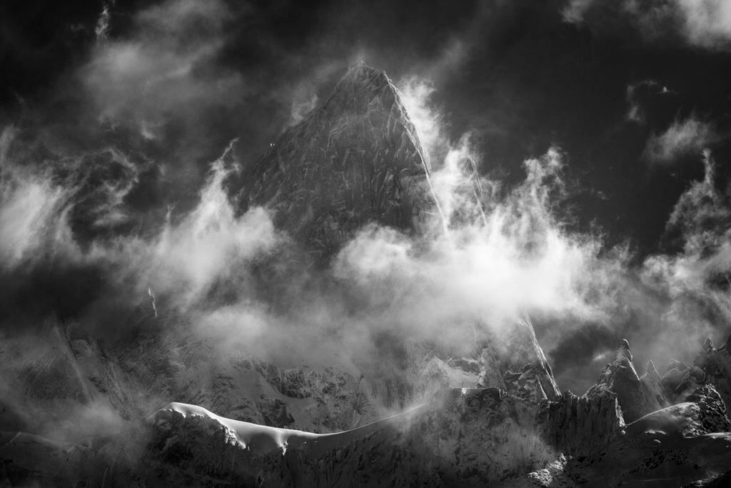 Mount Fitz Roy in black and white