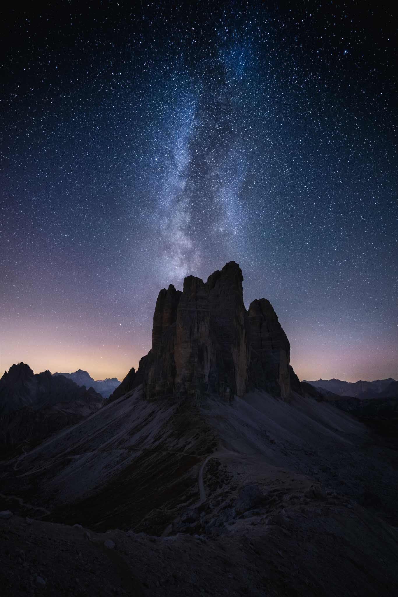 Starry sky at Tre Cime di Lavaredo in Autumn