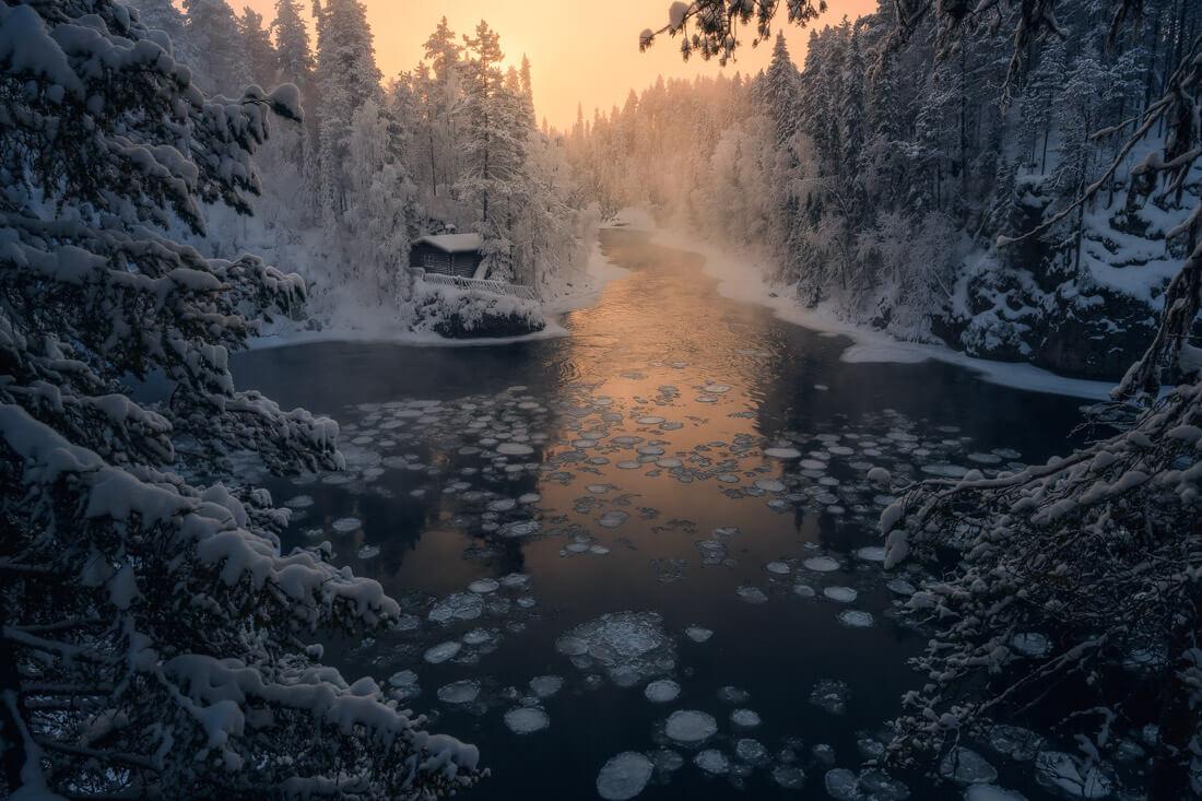 Frozen river during the Lapland Photo tour