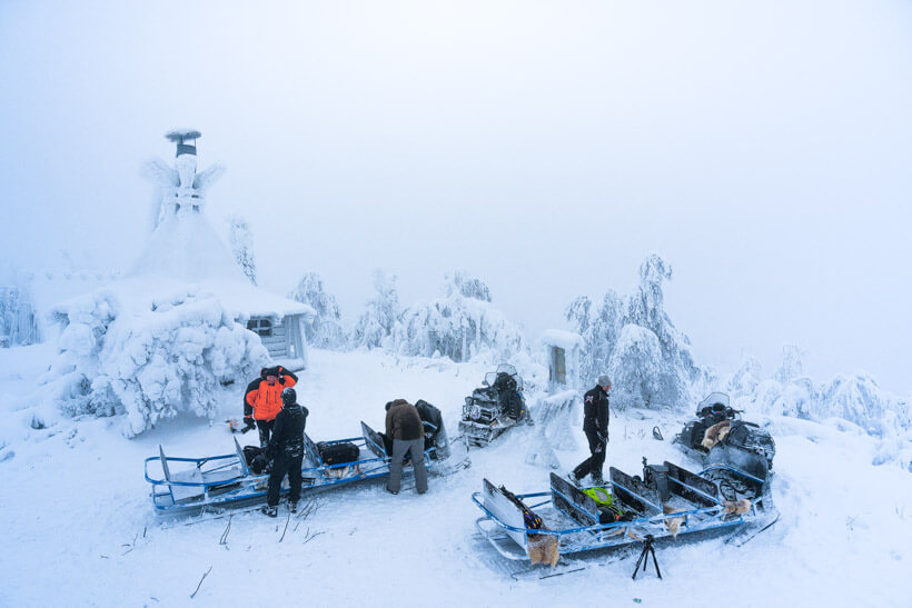 Snowmobile during the Lapland Photo tour