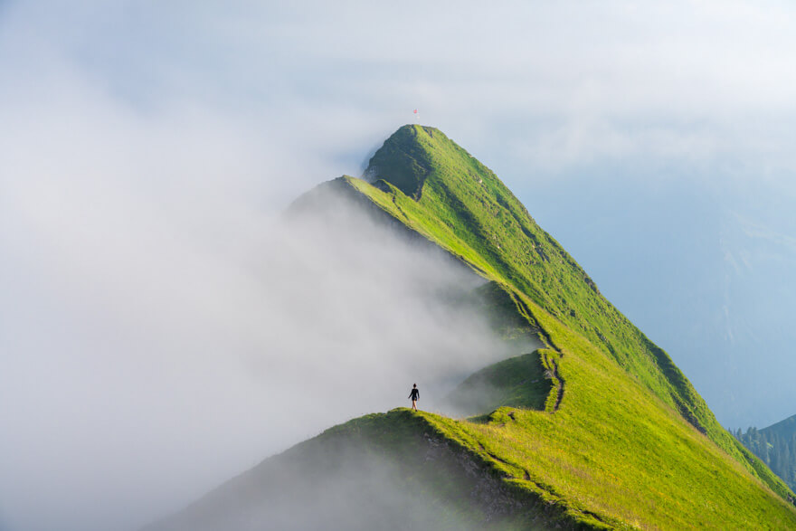 Hiking in the fog in Switzerland