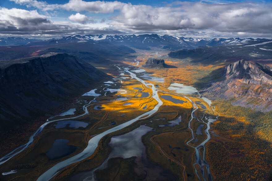 Bird view of Sarek National Park, Sweden