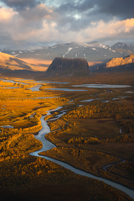 View from helicopter of Sarek National Park